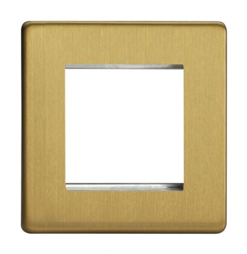 Varilight XDBG2S Screwless Brushed Brass DataGrid Plate (2 DataGrid Spaces)